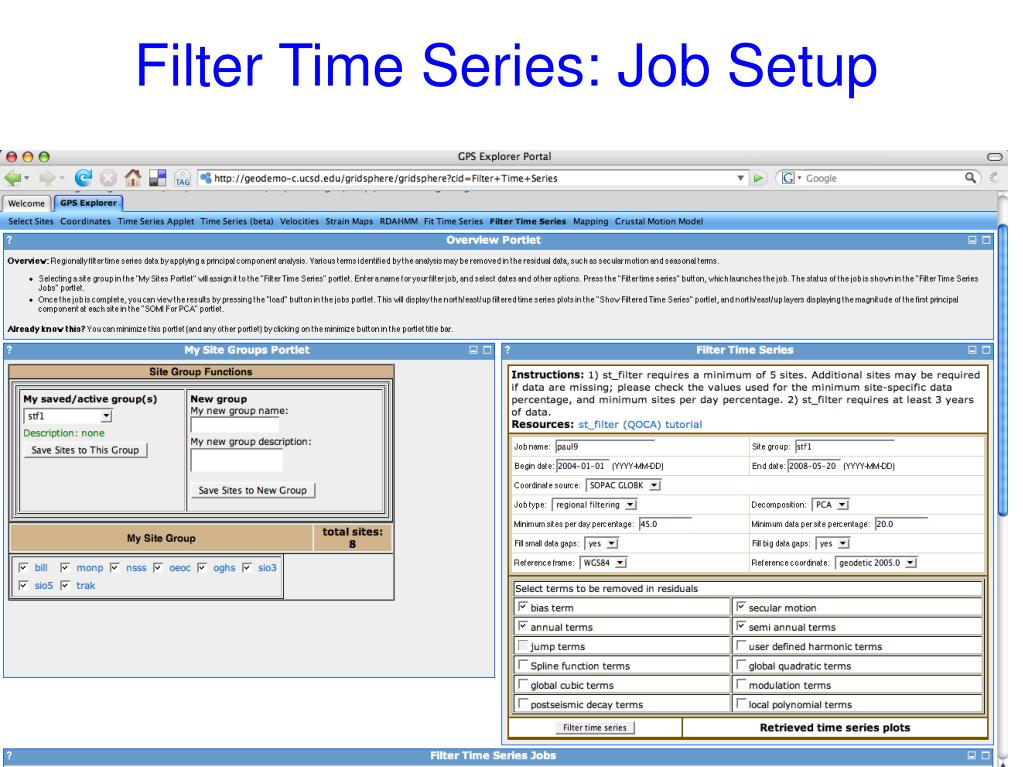 Filter Time Series: Job Setup