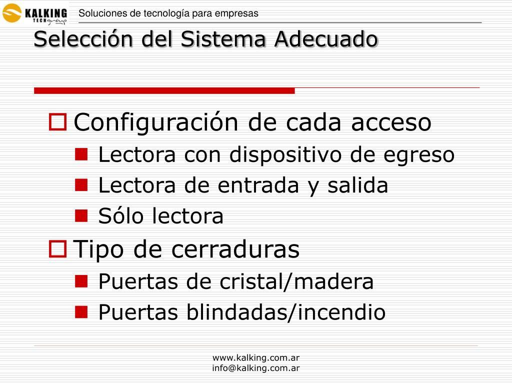Configuración de cada acceso