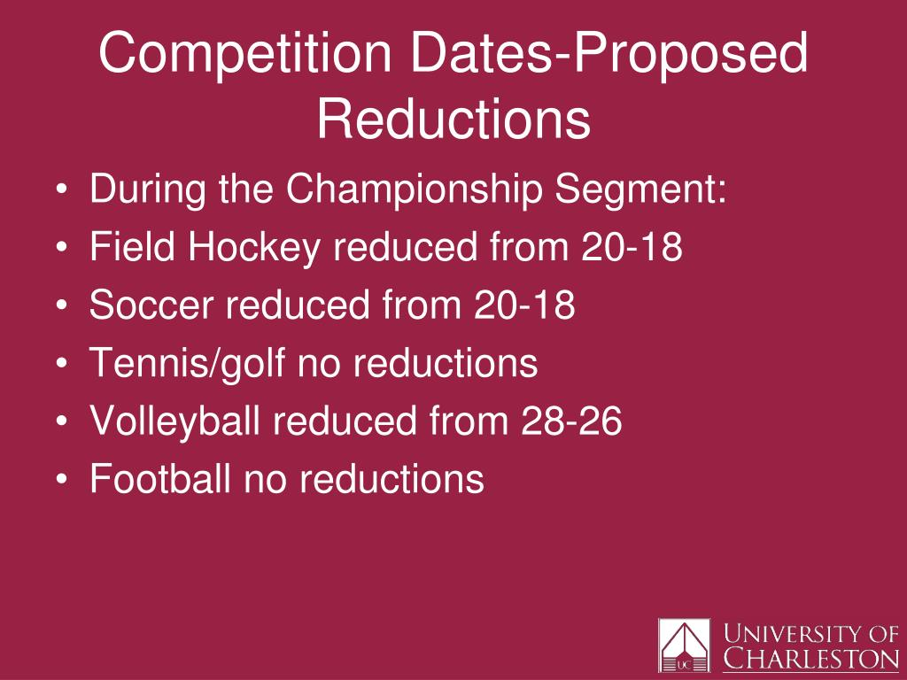 Competition Dates-Proposed Reductions