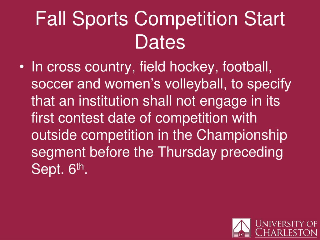 Fall Sports Competition Start Dates