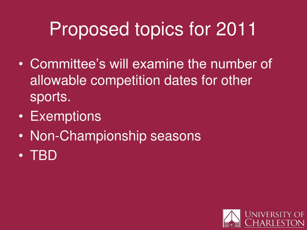 Proposed topics for 2011