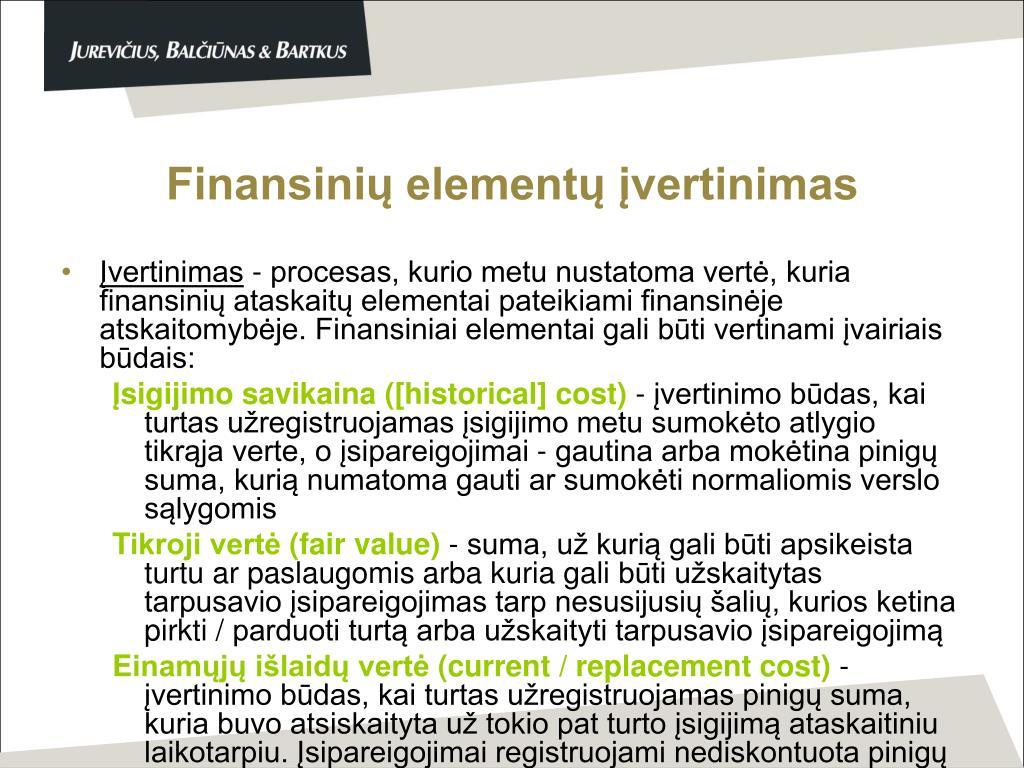 Finansinių elementų įvertinimas