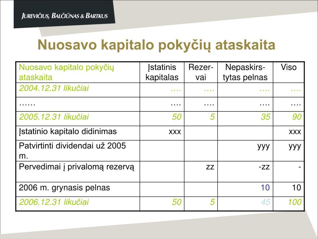 Nuosavo kapitalo pokyčių ataskaita