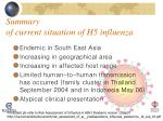 summary of current situation of h5 influenza
