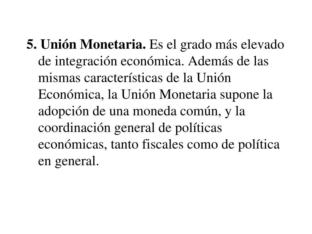 5. Unión Monetaria.