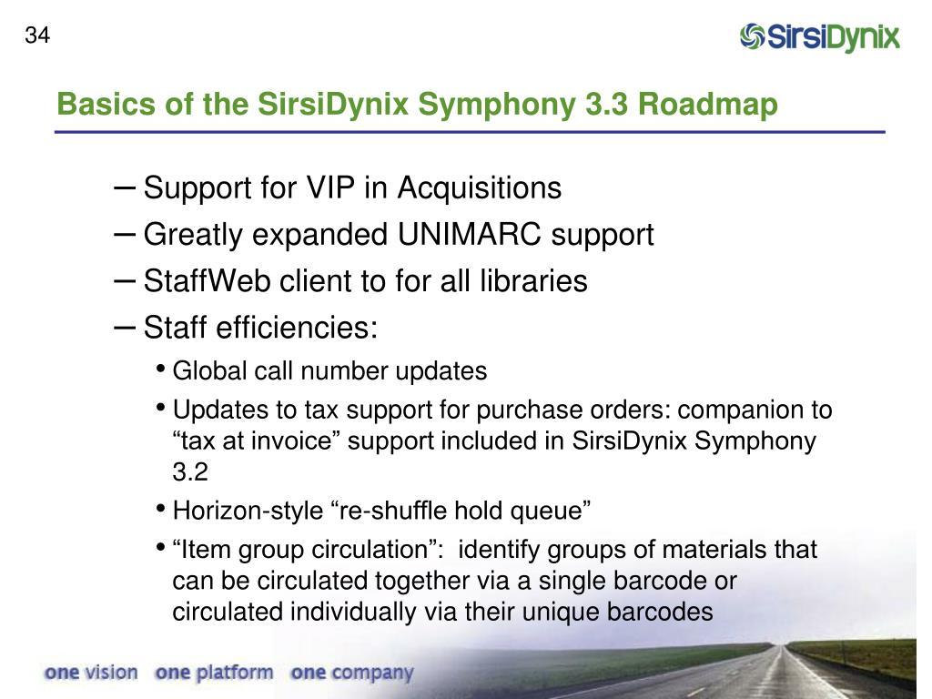 Basics of the SirsiDynix Symphony 3.3 Roadmap
