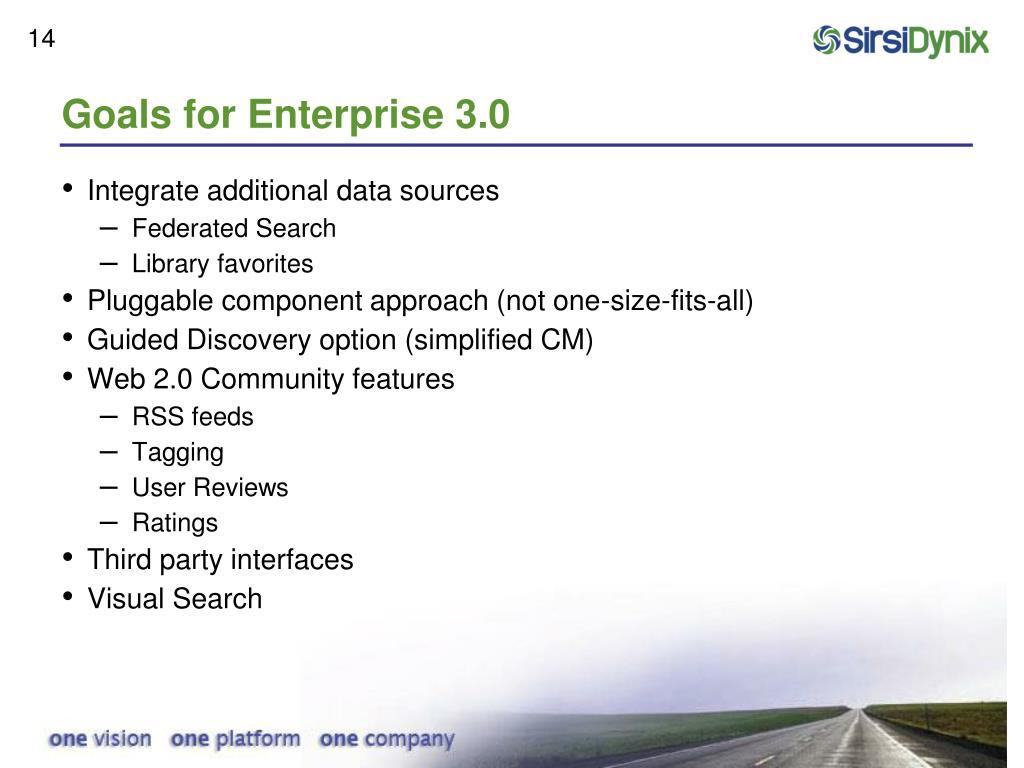 Goals for Enterprise 3.0
