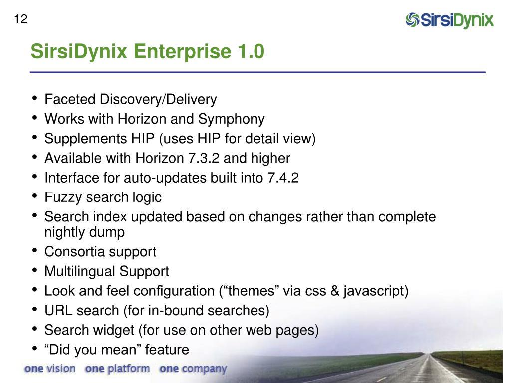 SirsiDynix Enterprise 1.0
