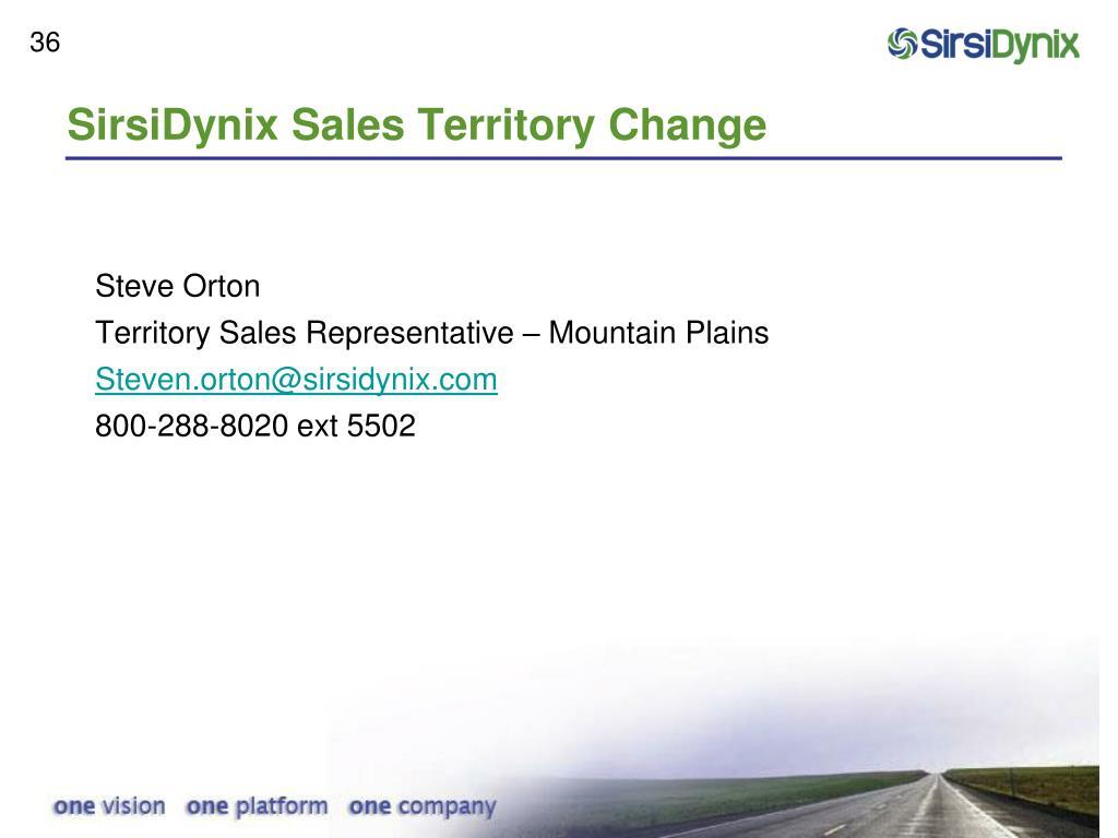 SirsiDynix Sales Territory Change