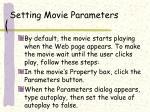 setting movie parameters
