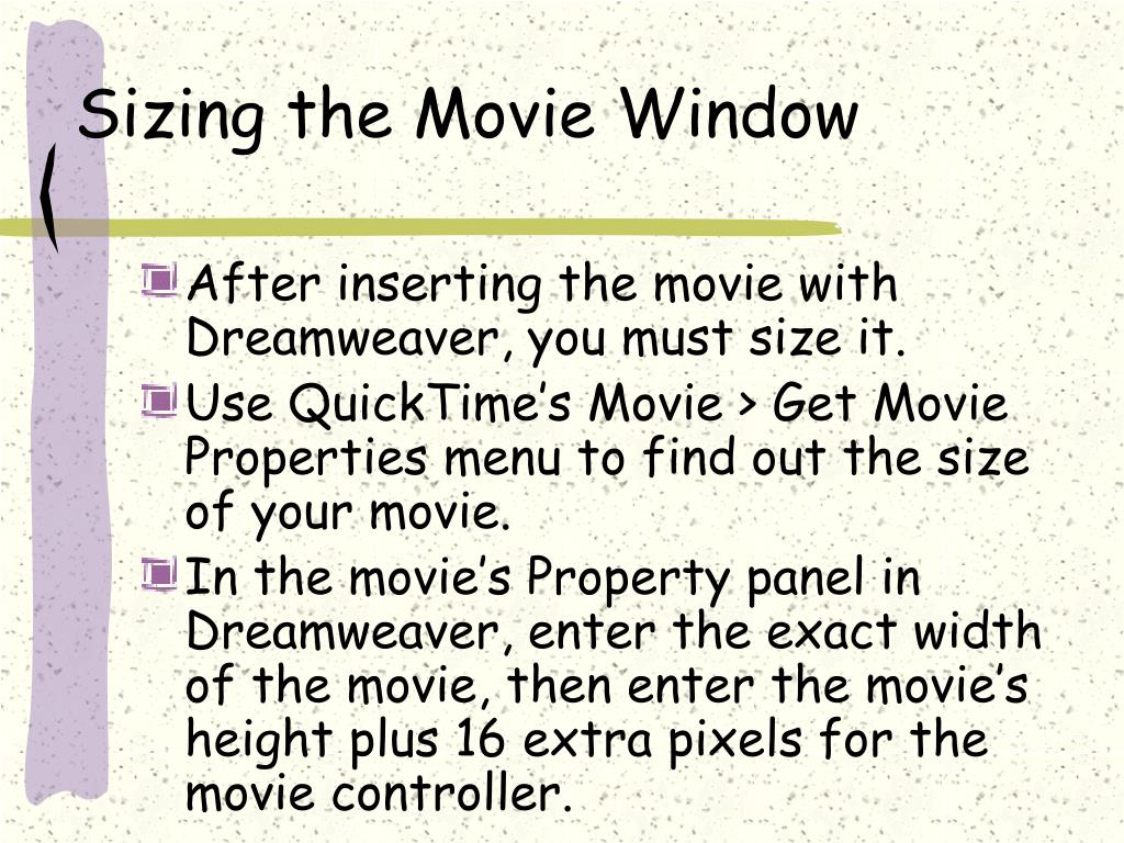 Sizing the Movie Window