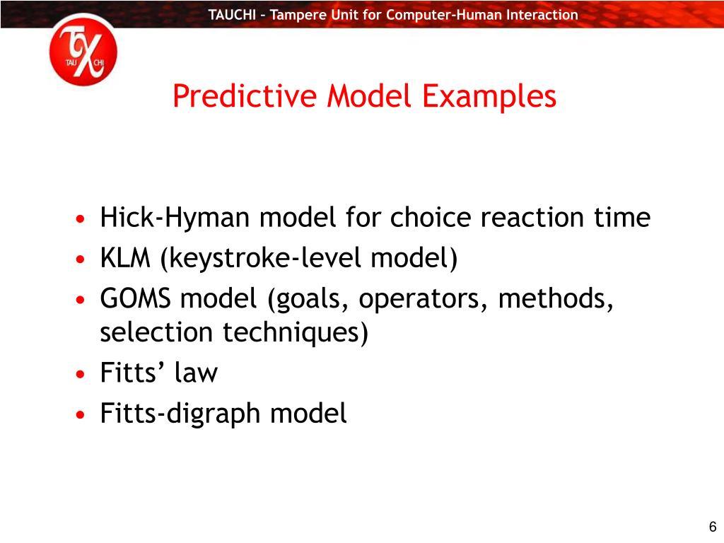 Predictive Model Examples