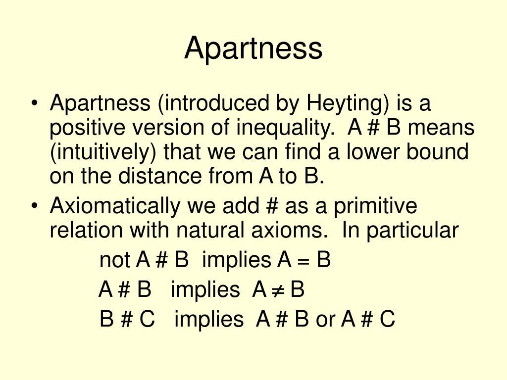 Apartness