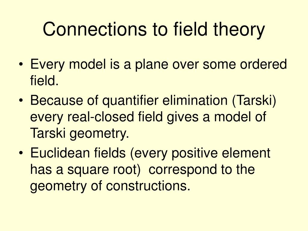 Connections to field theory