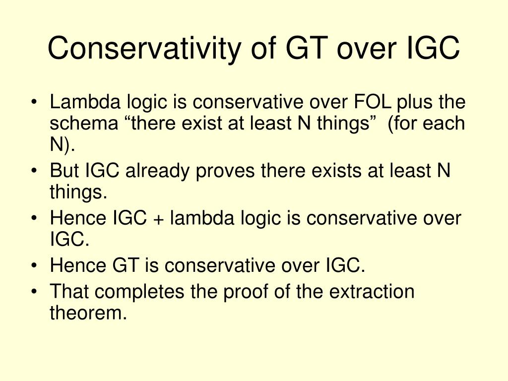 Conservativity of GT over IGC