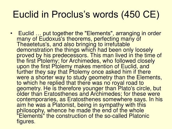 Euclid in proclus s words 450 ce