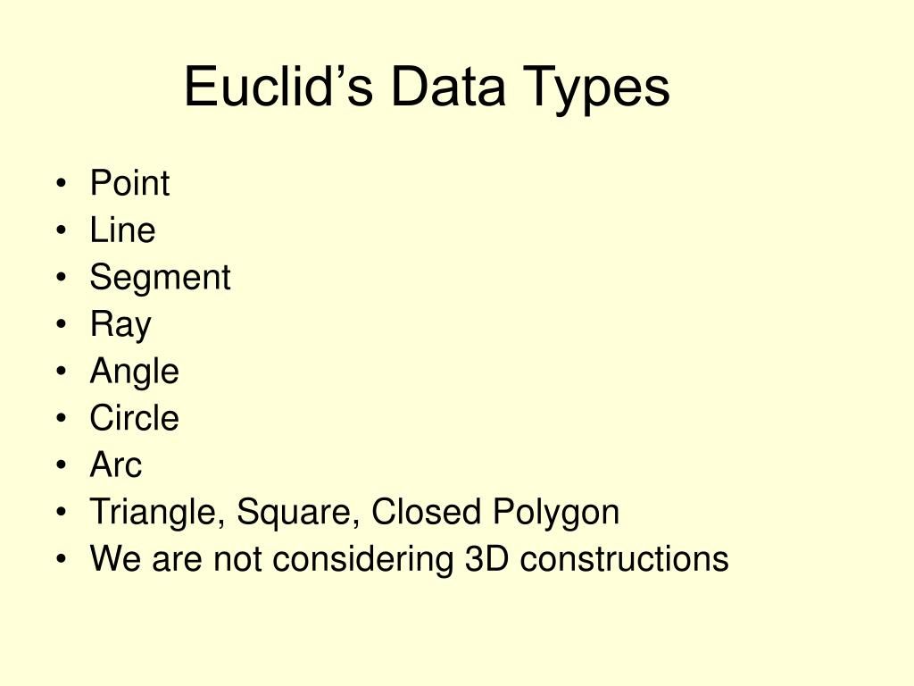 Euclid's Data Types