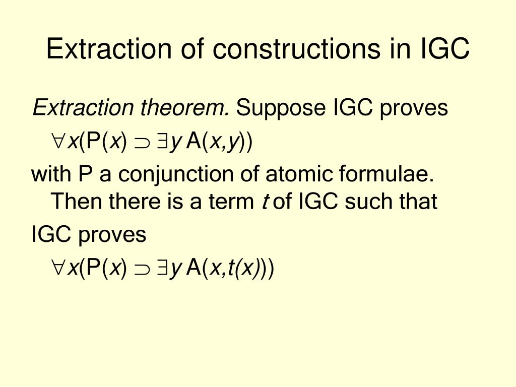 Extraction of constructions in IGC