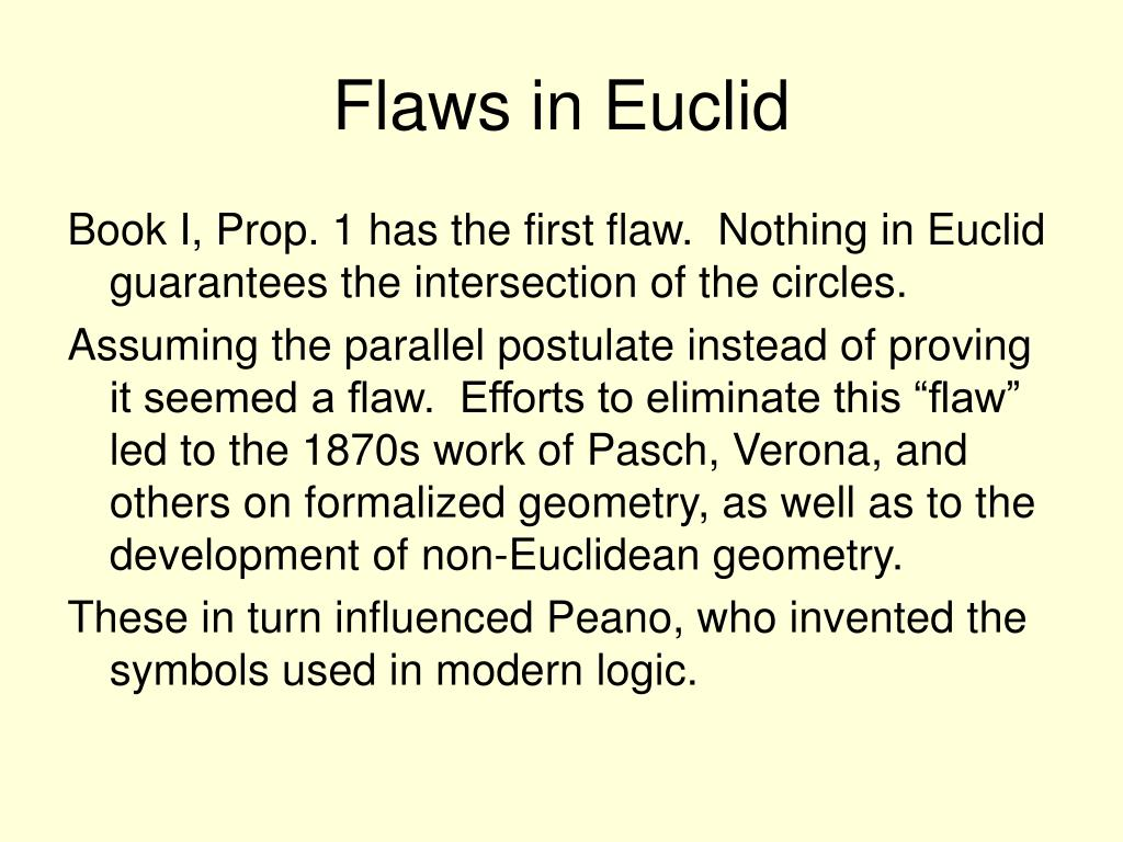 Flaws in Euclid