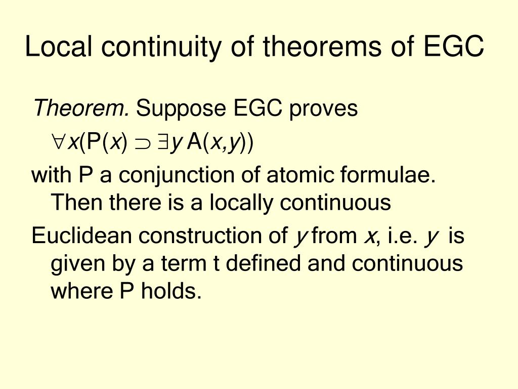 Local continuity of theorems of EGC