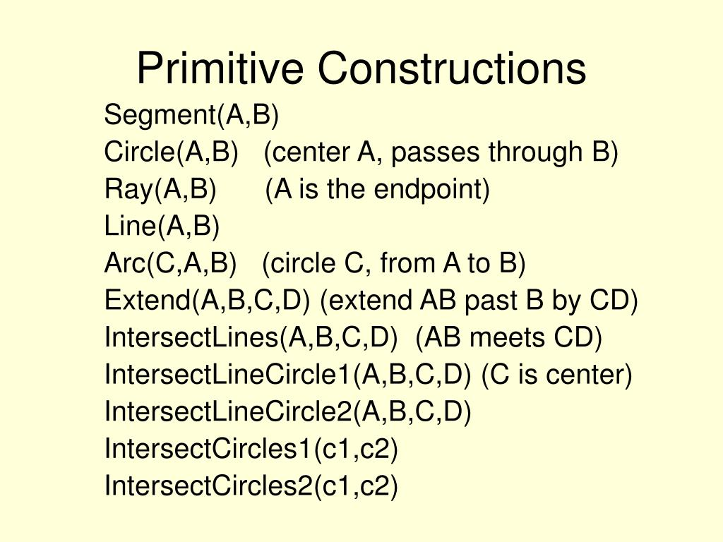 Primitive Constructions