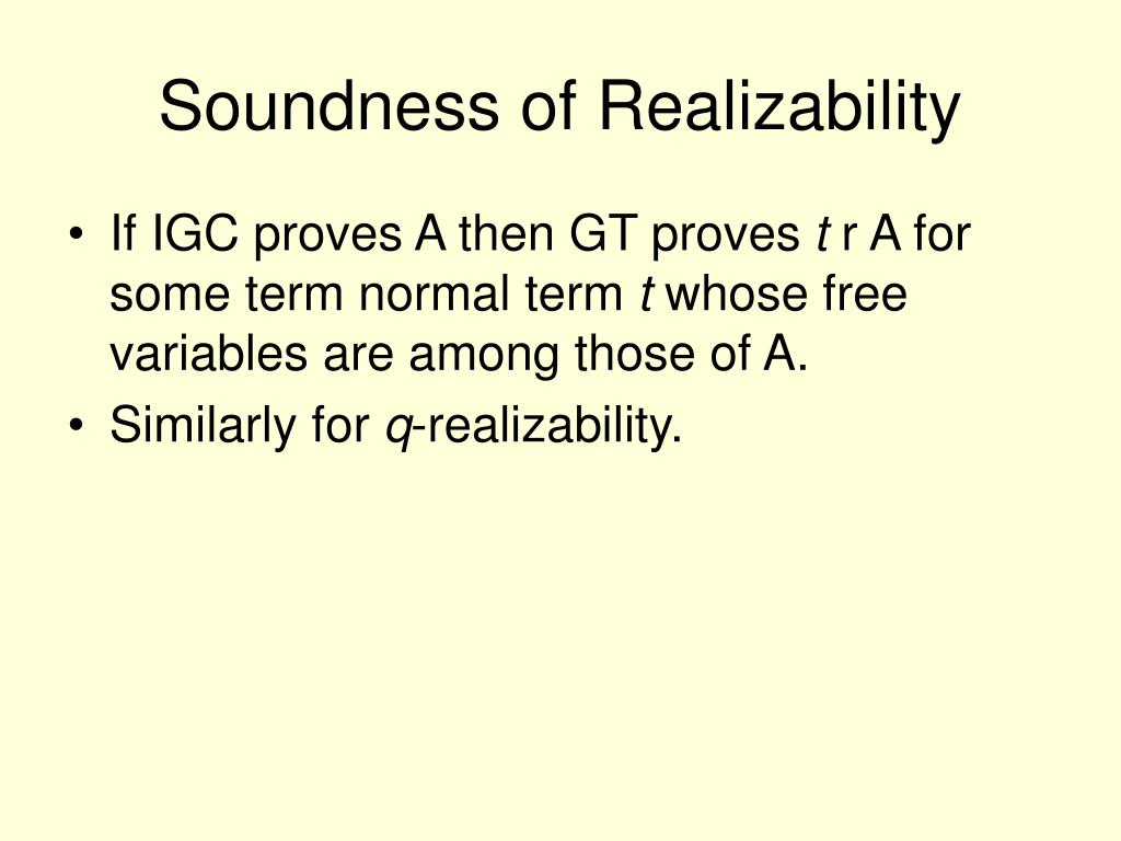 Soundness of Realizability