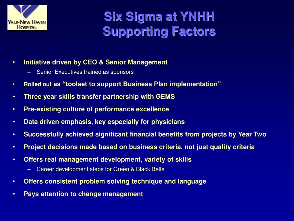 Six Sigma at YNHH
