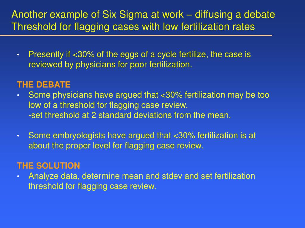 Another example of Six Sigma at work – diffusing a debate