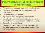 factores influyentes en la emergencia de las universidades