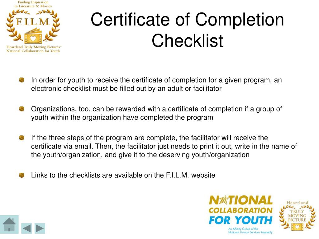 Certificate of Completion Checklist