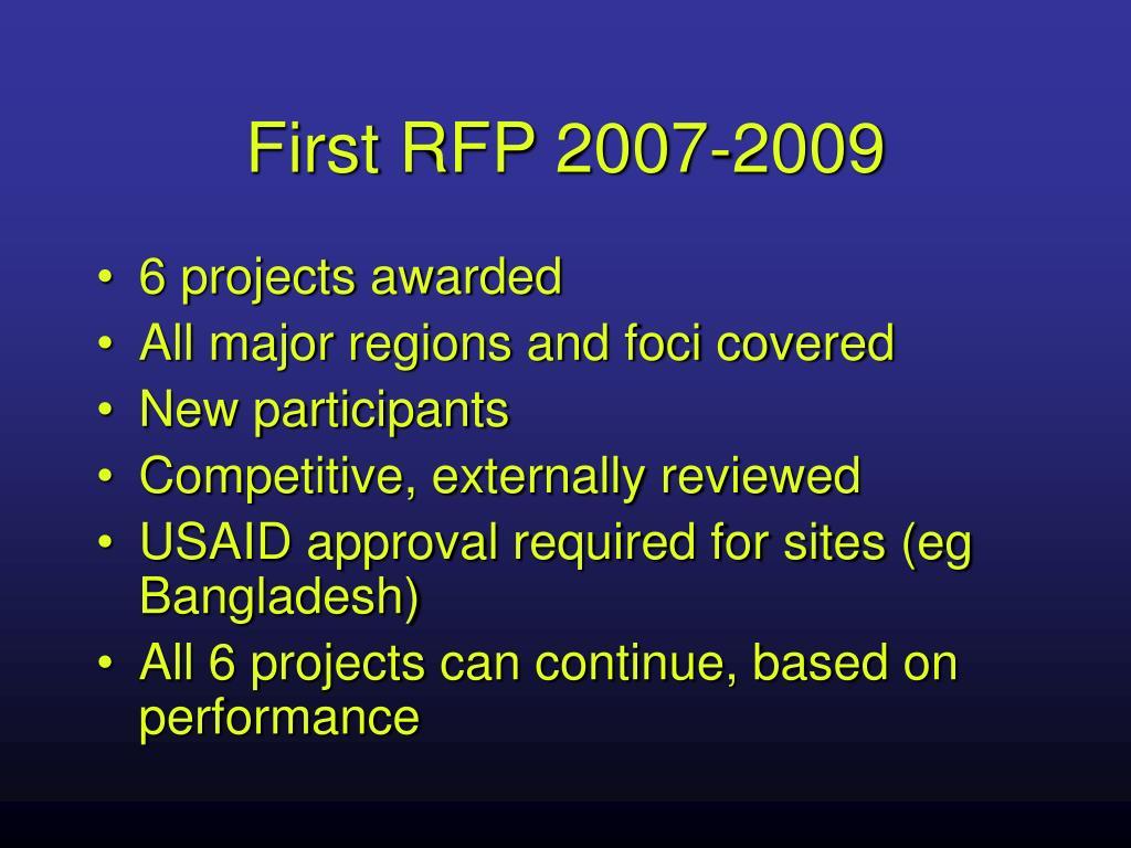 First RFP 2007-2009