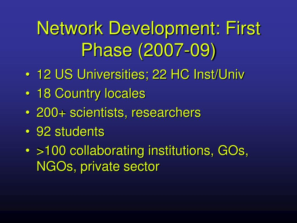 Network Development: First Phase (2007-09)