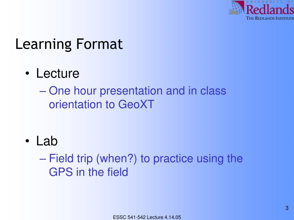 Learning Format