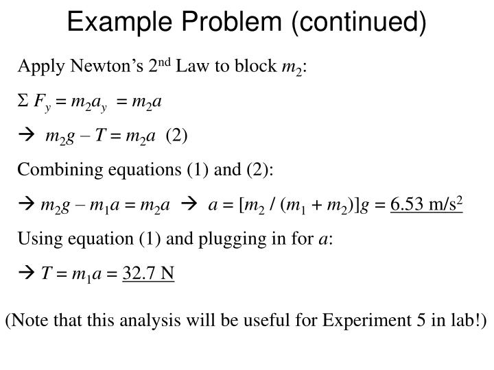 Example Problem (continued)