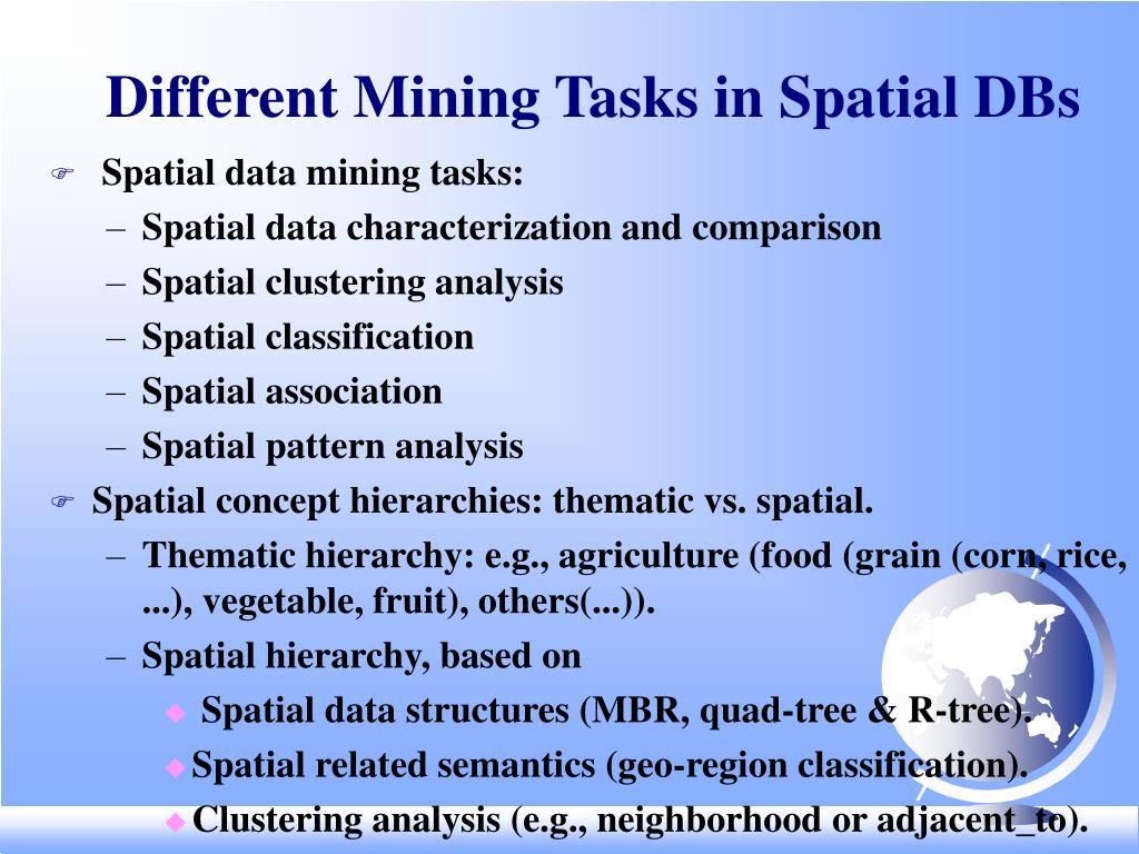 Different Mining Tasks in Spatial DBs