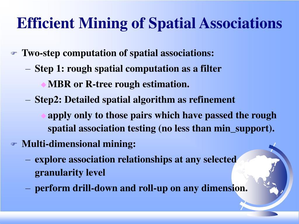 Efficient Mining of Spatial Associations