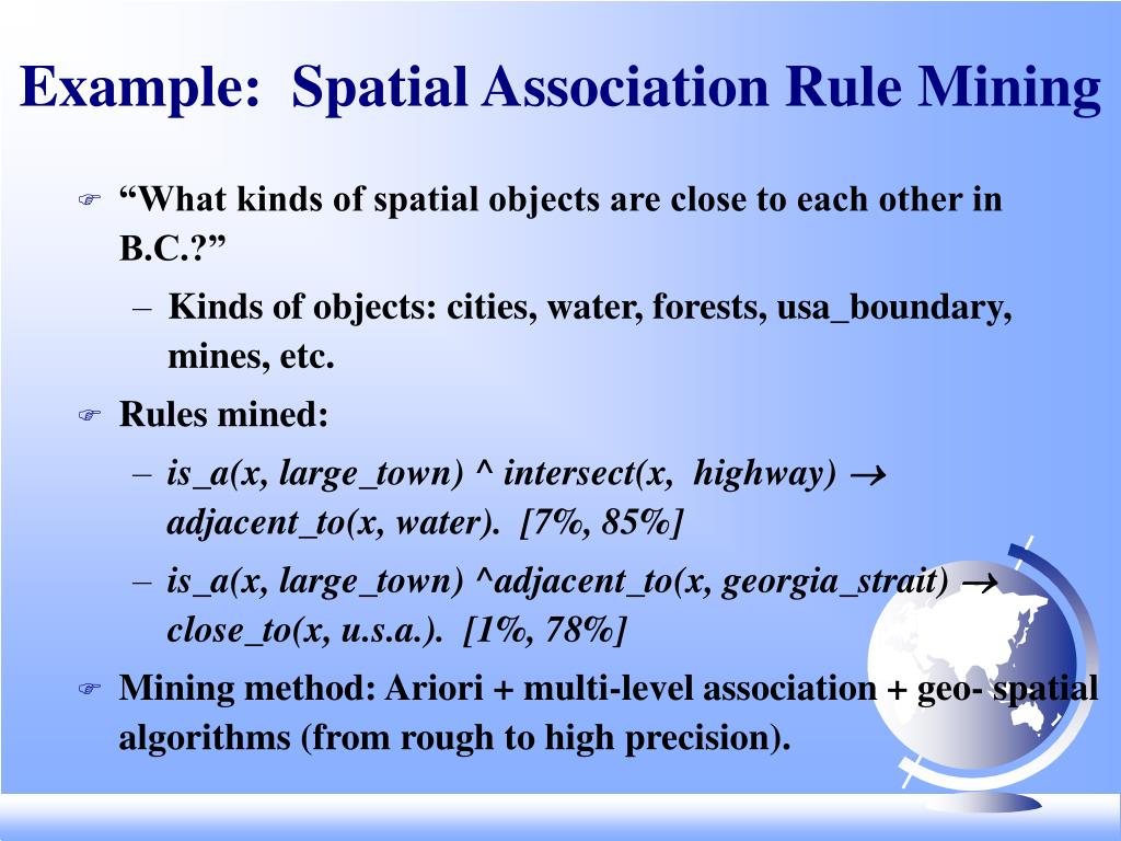 Example:  Spatial Association Rule Mining