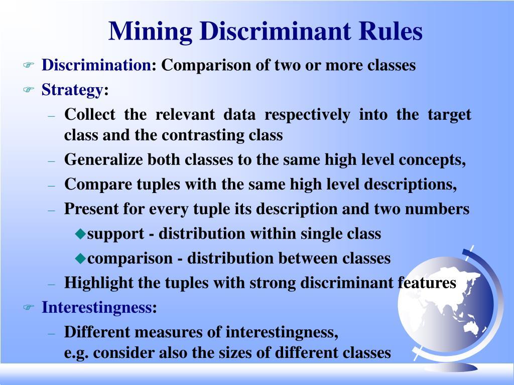 Mining Discriminant Rules