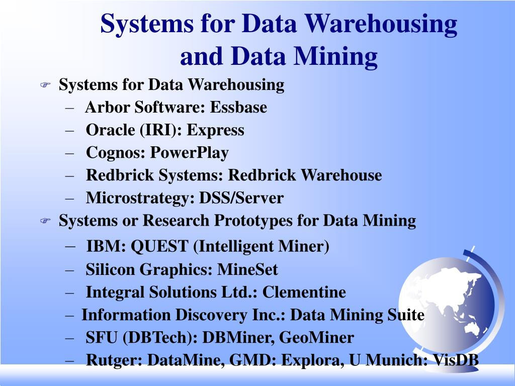 Systems for Data Warehousing and Data Mining