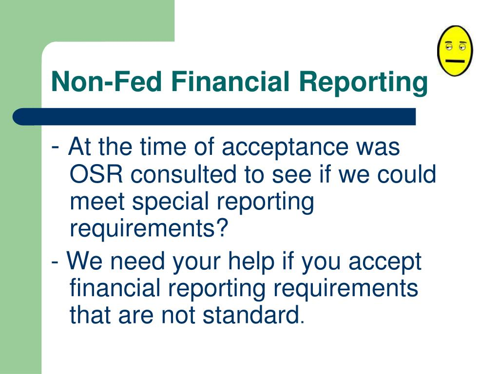 Non-Fed Financial Reporting