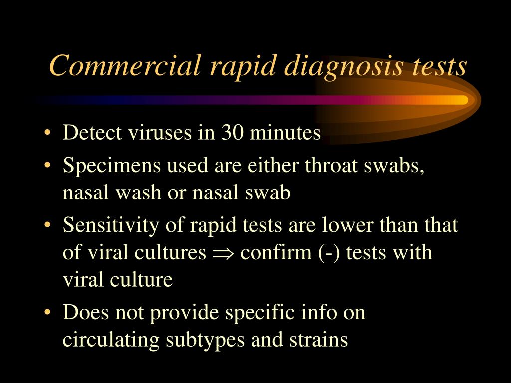 Commercial rapid diagnosis tests