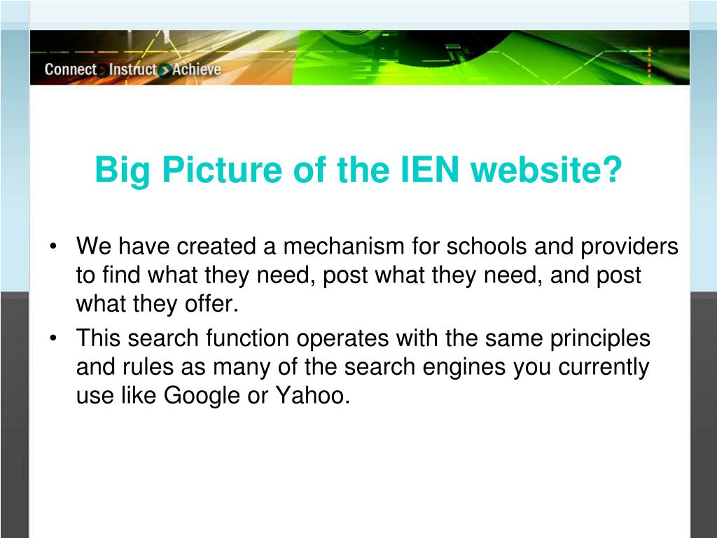 Big Picture of the IEN website?