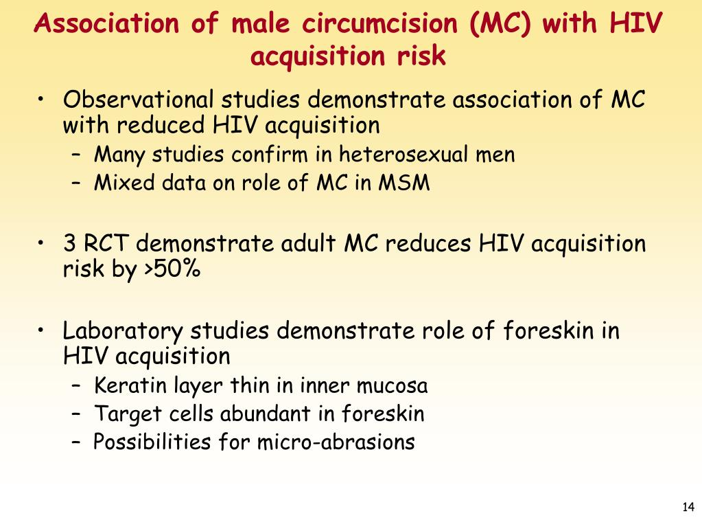 Association of male circumcision (MC) with HIV acquisition risk
