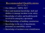 recommended qualifications nfpa 1521 chap 4