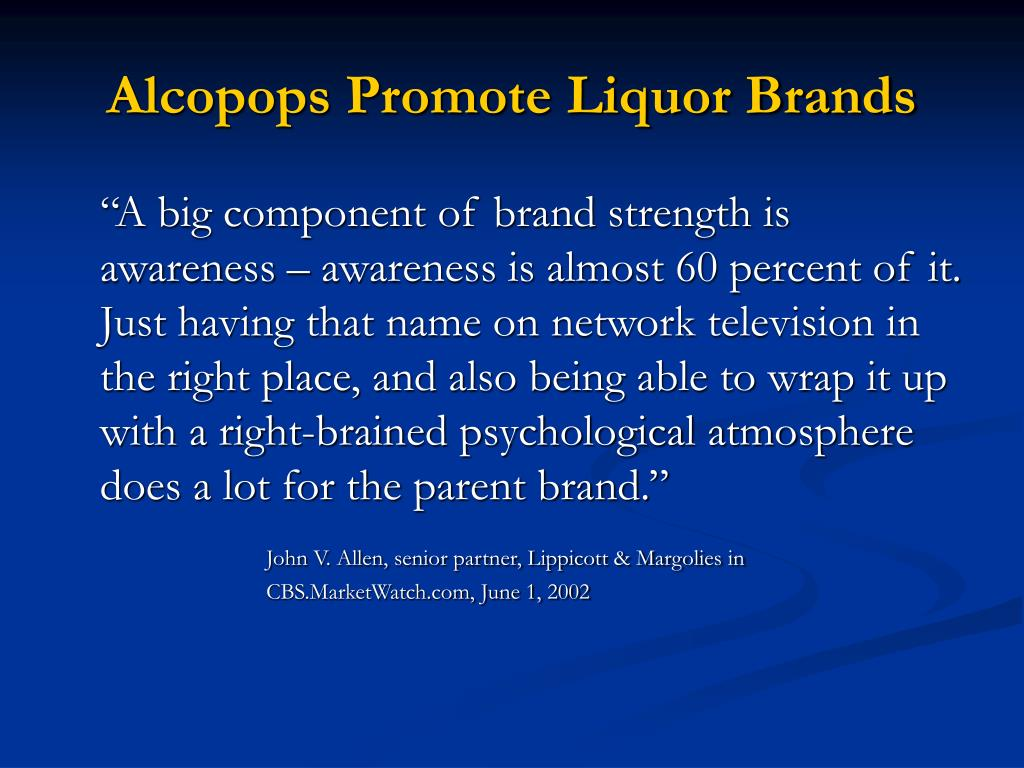 Alcopops Promote Liquor Brands