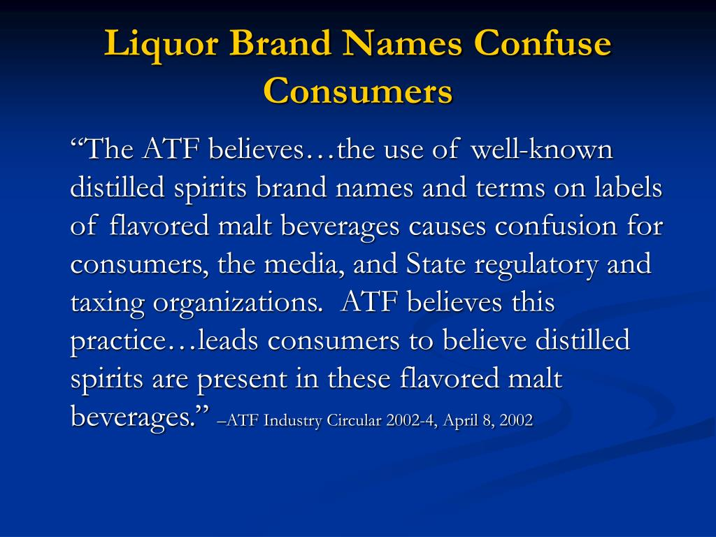 Liquor Brand Names Confuse Consumers