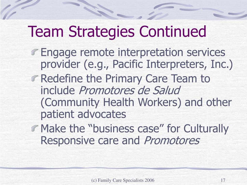 Team Strategies Continued