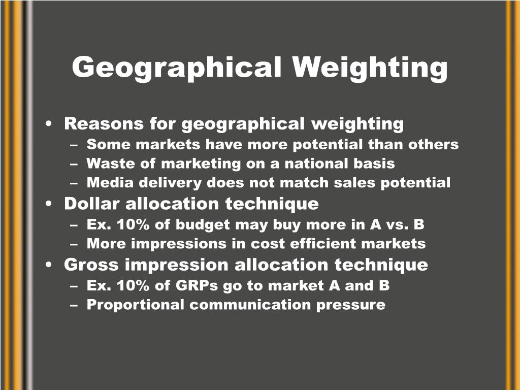 Geographical Weighting