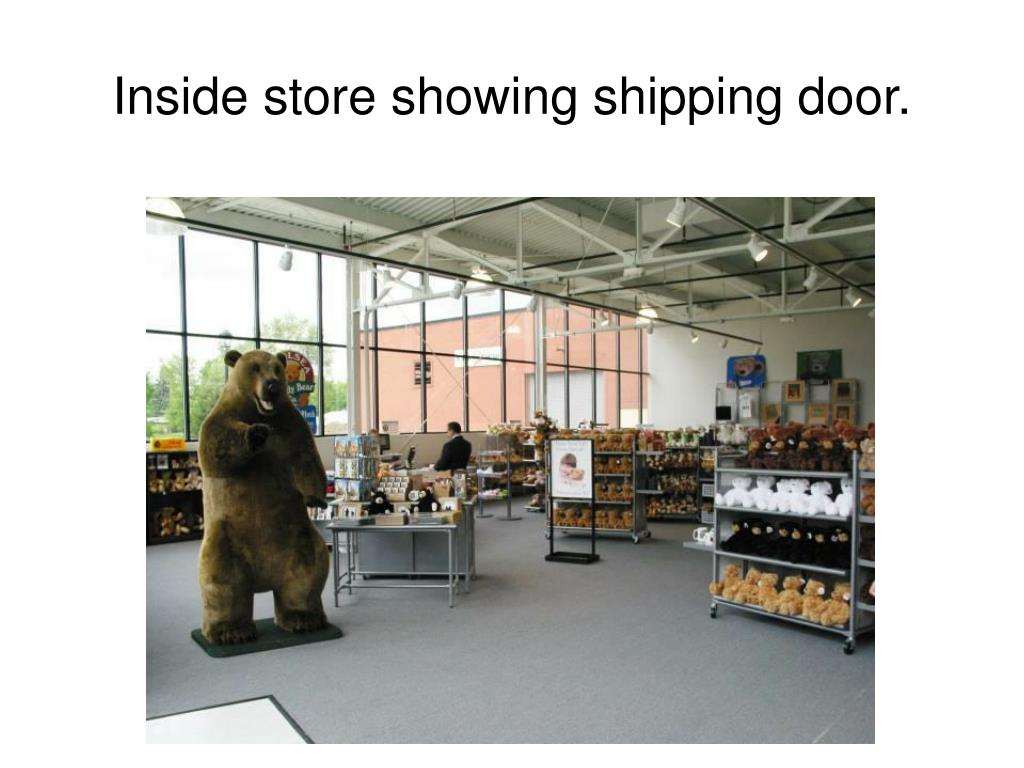 Inside store showing shipping door.
