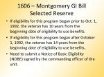 1606 montgomery gi bill selected reserve